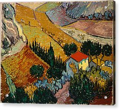 Acrylic Print featuring the painting Landscape With House And Ploughman by Van Gogh