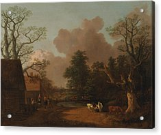 Landscape With Milkmaid Acrylic Print by Thomas Gainsborough