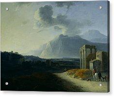 Landscape With Mount Stromboli Acrylic Print by Willem Schellinks