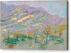 Landscape With Purple Mountains  Acrylic Print by Arthur Bowen Davies