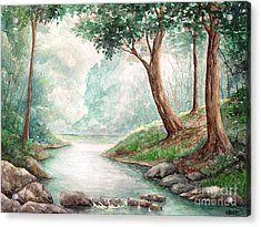 Landscape With River Acrylic Print by Enaile D Siffert