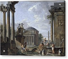 Landscape With Roman Ruins Acrylic Print by Giovanni Paolo Panini
