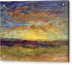 Landscape With Setting Sun Acrylic Print by Auguste Francois Ravier