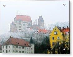Landshut Bavaria On A Foggy Day Acrylic Print by Christine Till