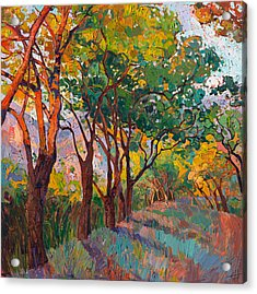 Acrylic Print featuring the painting Lane Of Oaks by Erin Hanson