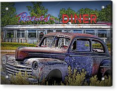 Languishing Vintage Automobile By Historic Rosie's Diner Acrylic Print