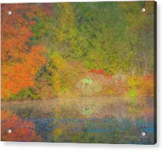 Langwater Pond Boathouse October 2015 Acrylic Print
