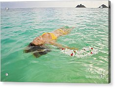 Lanikai Floating Woman Acrylic Print by Tomas del Amo - Printscapes