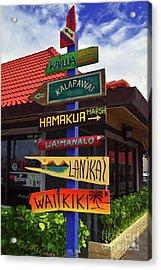 Lanikai Kailua Waikiki Beach Signs Acrylic Print