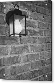 Lantern On Brick Wall  Acrylic Print by Nicole Aponte