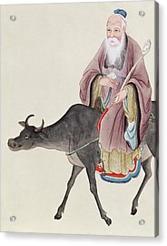 Lao Tzu On His Buffalo Acrylic Print by Chinese School