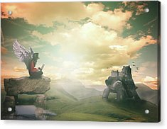 Acrylic Print featuring the digital art Laptop Dreams by Nathan Wright
