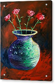 Acrylic Print featuring the painting Large Abstract Roses In Vase Painting by Mark Webster