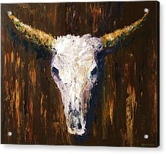 Large Cow Skull Acrylic Palette Knife Painting Acrylic Print by Mark Webster