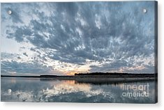 Large Panorama Of Storm Clouds Reflecting On Large Lake At Sunse Acrylic Print