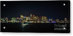 Large Panoramic Of Downtown Boston At Night Acrylic Print