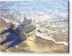 Large Sandcastle On The Beach Acrylic Print by Skip Nall