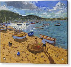 Large Sandcastle Teignmouth Acrylic Print by Andrew Macara