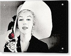 Large White Hat -marilyn Monroe  - Sketch Acrylic Print