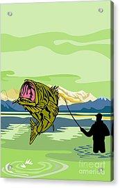 Largemouth Bass Fish Jumping Acrylic Print by Aloysius Patrimonio