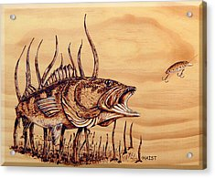 Acrylic Print featuring the pyrography Largemouth Bass by Ron Haist