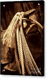 Lariat On A Saddle Acrylic Print by American West Legend By Olivier Le Queinec