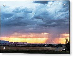 Larimer County Colorado Sunset Thunderstorm Acrylic Print