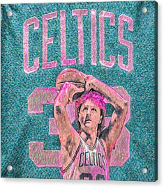 Larry Bird Boston Celtics Digital Painting Pink Acrylic Print by David Haskett
