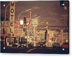Las Vegas Commercial Street Acrylic Print by Everett