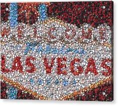 Las Vegas Sign Poker Chip Mosaic Acrylic Print by Paul Van Scott
