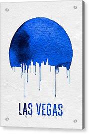 Las Vegas Skyline Blue Acrylic Print by Naxart Studio