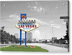 Las Vegas Welcome Sign Color Splash Black And White Acrylic Print by Shawn O'Brien