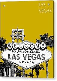 Las Vegas Welcome To Las Vegas - Gold Acrylic Print by DB Artist