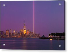 Laser Twin Towers In New York City Acrylic Print by Ranjay Mitra
