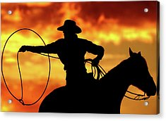 Lasso Sunset Cowboy Acrylic Print