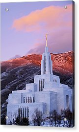 Last Light At Draper Temple Acrylic Print by Chad Dutson