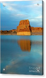 Acrylic Print featuring the photograph Last Light At Lone Rock by Mike Dawson