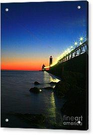 Last Light Grand Haven Michigan Acrylic Print by Robert Pearson