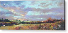 Last Light Over The Hills. France Acrylic Print by Rae Andrews