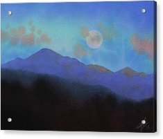 Last Light With Moonrise Over Iron Mountain Acrylic Print by Robin Street-Morris