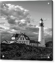 Late Afternoon Clouds, Portland Head Light  -98461-sq Acrylic Print