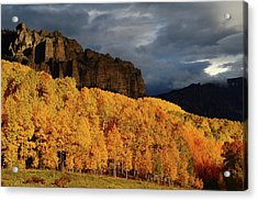 Acrylic Print featuring the photograph Late Afternoon Light On The Cliffs Near Silver Jack Reservoir In Autumn by Jetson Nguyen