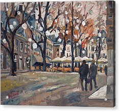 Late November At The Our Lady Square Maastricht Acrylic Print by Nop Briex