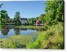 Late Summer - The Red Mill  On The Raritan River - Clinton New J Acrylic Print by Bill Cannon