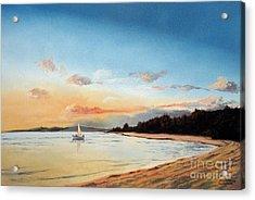 Late Sunset Along The Beach Acrylic Print