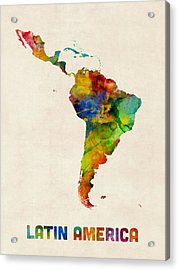 Acrylic Print featuring the digital art Latin America Watercolor Map by Michael Tompsett