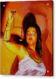 Latina Lady Justice Acrylic Print by Laura Pierre-Louis