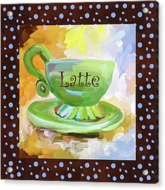 Latte Coffee Cup With Blue Dots Acrylic Print by Jai Johnson