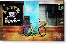 Latte Love Bicycle Acrylic Print