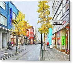 Acrylic Print featuring the digital art Laugavegur Street In Downtown Reykjavik by Digital Photographic Arts
